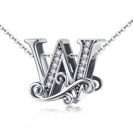 Sterling silver alphabet charm letter W with transparent zirconia stones
