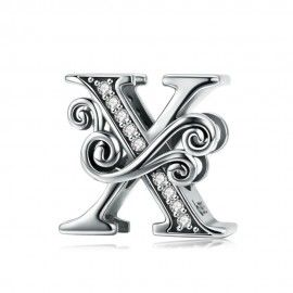 Sterling silver alphabet charm letter X with transparent zirconia stones