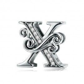 Zilveren alfabet bedel letter X met  transparante zirkonia steentjes