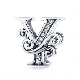 Charm alphabet en argent lettre Y avec des pierres de zircone transparent