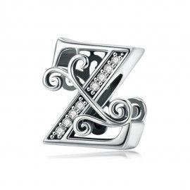 Zilveren alfabet bedel letter Z met  transparante zirkonia steentjes