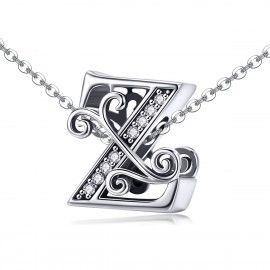 Sterling silver alphabet charm letter Z with transparent zirconia stones