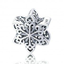 Zilveren bedel Elegante sneeuwvlok