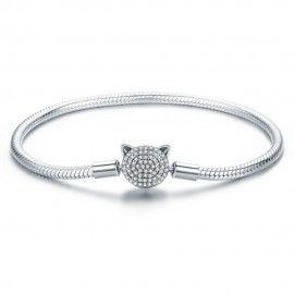 Bracelet en argent (S925) Chat mignon