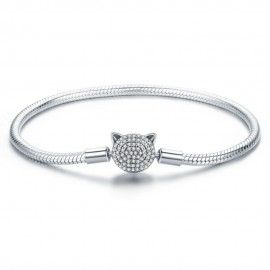 Sterling-Silber Charm-Armband Süße Katze