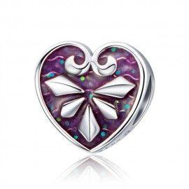 Charm en argent Coeur avec émail violet
