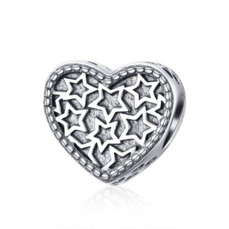 Sterling silver charm Heart filled with stars