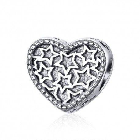 Zilveren bedel Hart gevuld met sterren