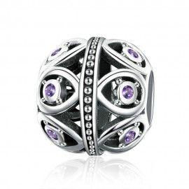 Sterling silver charm Elegant purple drop