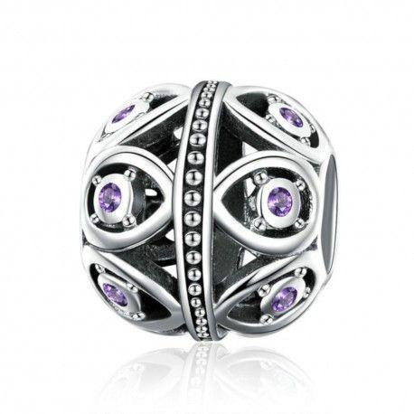 Zilveren bedel Elegante paarse druppel
