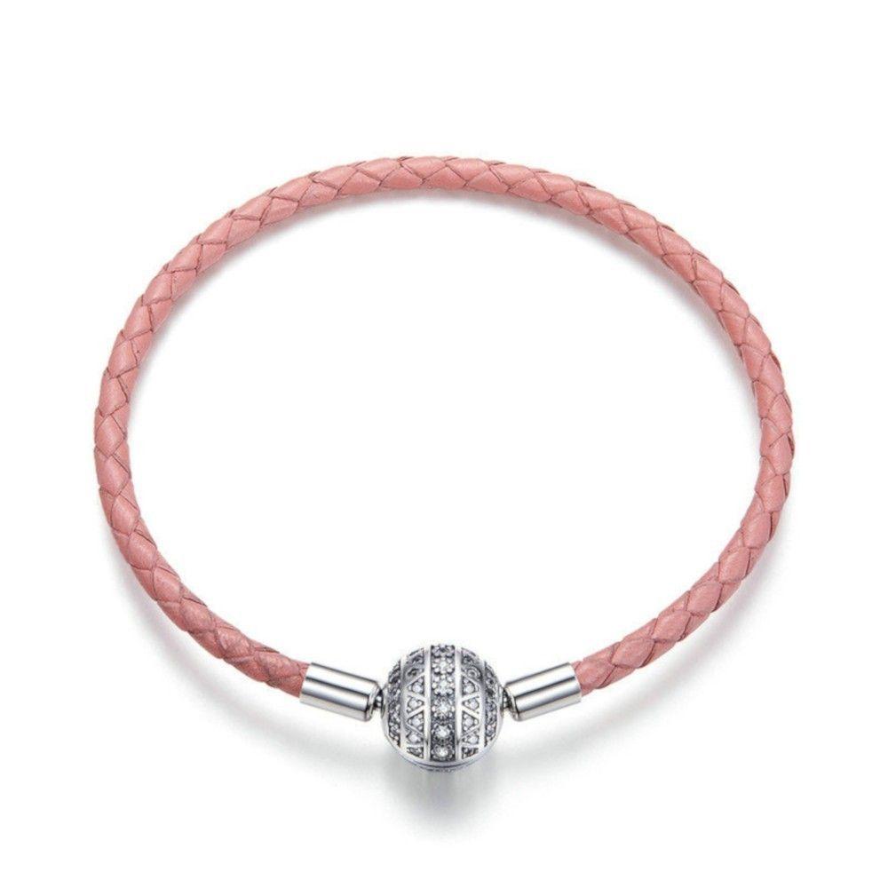 Woven leather charm bracelet Girlish