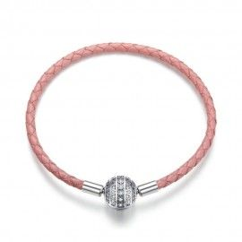 Woven leather charm bracelet Girlish