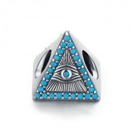 Zilveren bedel Magische blauwe ogen driehoek