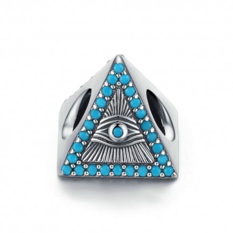 Sterling silver charm Magic blue eyes triangle