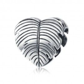 Sterling silver charm Summer love palm tree leaf