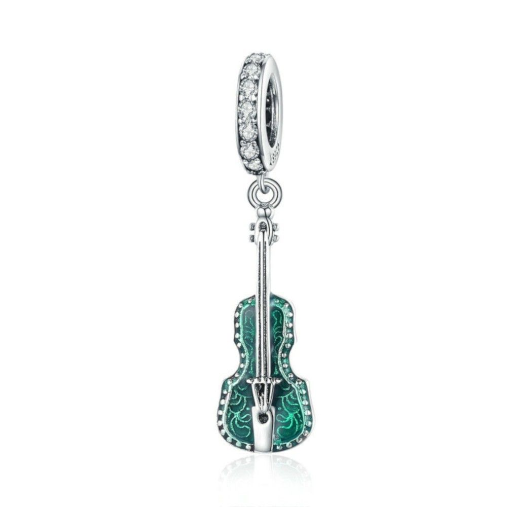 Sterling silver pendant charm Music violin