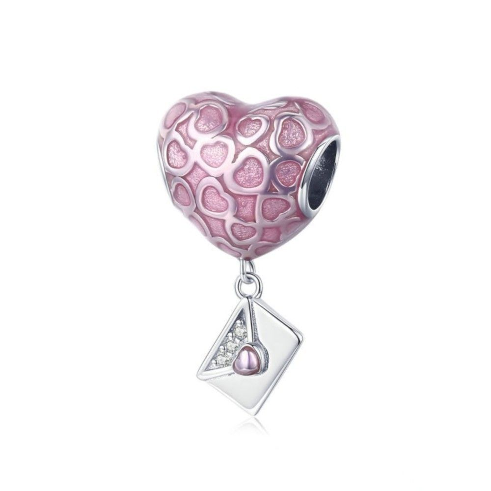 Sterling silver pendant charm Envelope with love heart