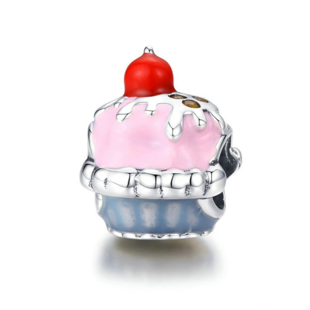Sterling silver charm Pink cupcake