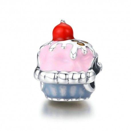 Zilveren bedel Roze cupcake