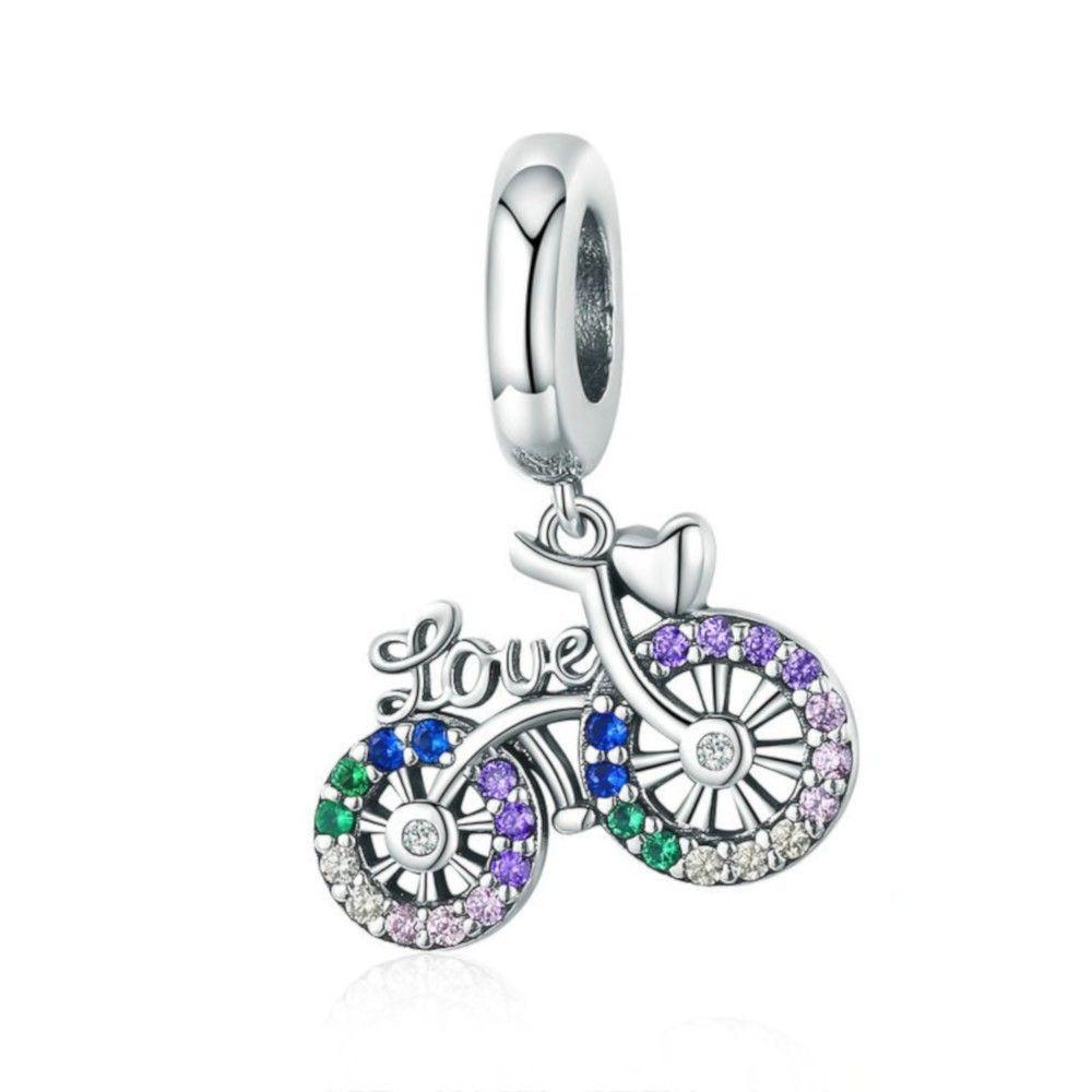 Zilveren hangende bedel Liefde fiets