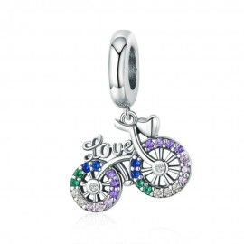 Sterling silver pendant charm Love bicycle