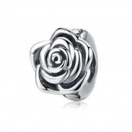Sterling silver charm Rose flower bud