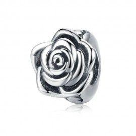Zilveren bedel Roos bloemknop