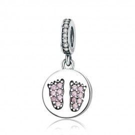 Sterling silver pendant charm Children's birth footprints