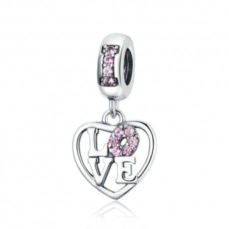 Sterling silver pendant charm I love