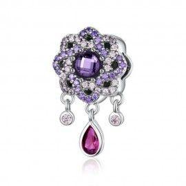 Sterling silver pendant charm Shiny purple flower