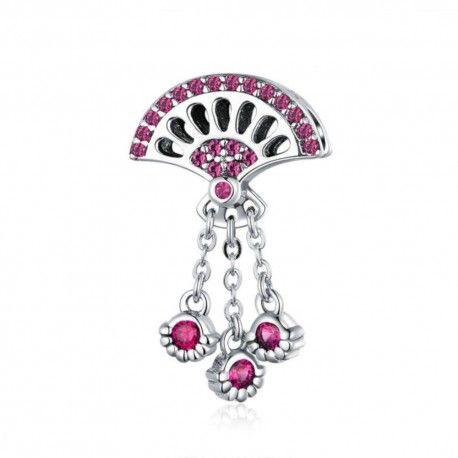 Sterling silver pendant charm Pink fan