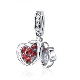 Zilveren hangende bedel Liefdesdoos