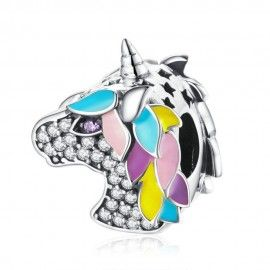 Charm en plata de Ley Unicornio brillante