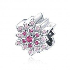 Zilveren bedel Rode lotus