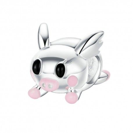 Sterling silver charm Flying pig