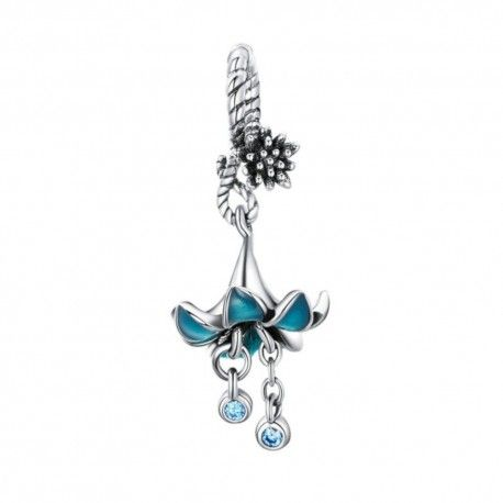 Sterling silver pendant charm Blue flower