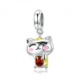 Sterling silver pendant charm Shy tiger