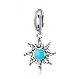Sterling silver pendant charm Blue sun
