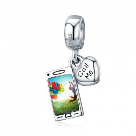 Zilveren hangende bedel Mobiele telefoon