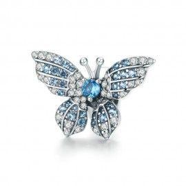 Zilveren bedel Blauwe glanzende vlinder