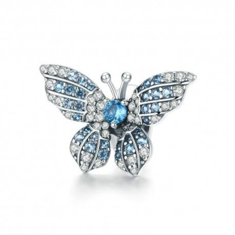 Sterling silver charm Blue shiny butterfly