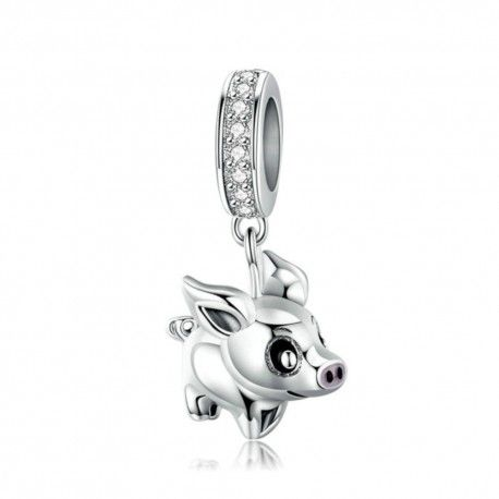 Sterling silver pendant charm Little pig