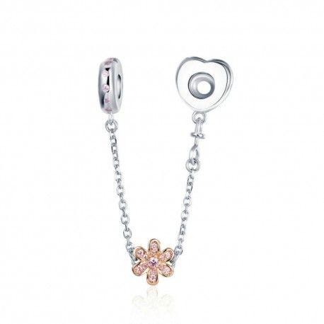 Zilveren veiligheidsketting Hart en bloem