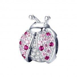 Charm in argento Coccinella rosa
