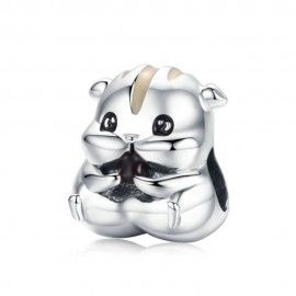 Zilveren bedel Hamster