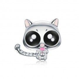 Sterling silver charm Happy kitten
