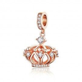 Zilveren hangende bedel Kroon rosé goud verguld