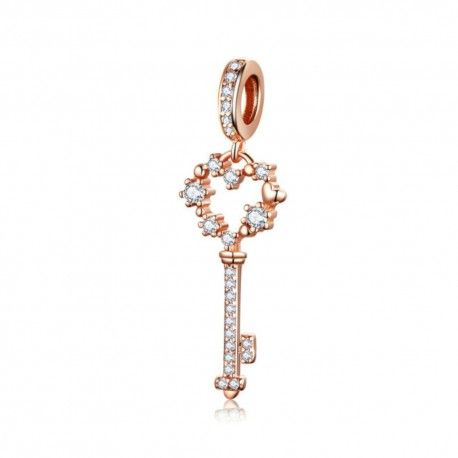 Sterling silver pendant charm Key rose gold plated