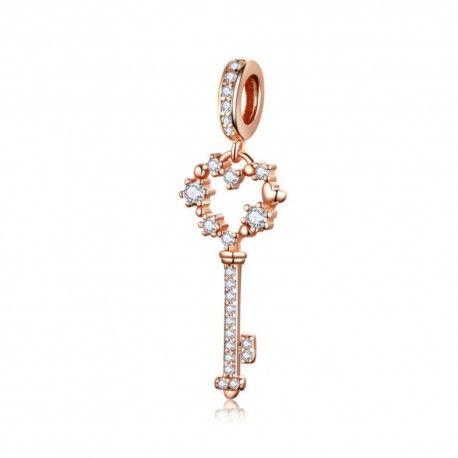 Zilveren hangende bedel Sleutel rosé goud verguld