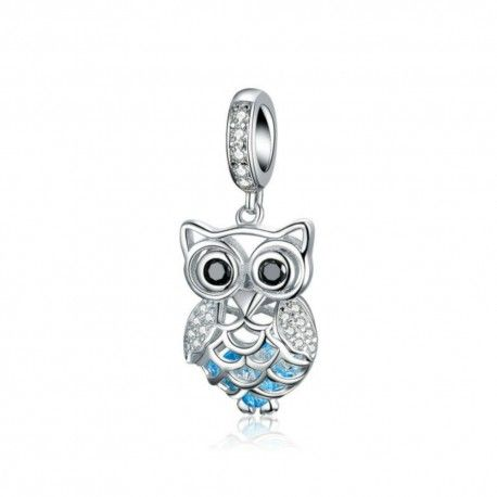 Sterling silver pendant charm Crystal owl blue feathers